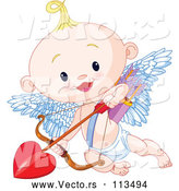 Vector of Cute Blond White Baby Cupid Flying with a Heart Arrow by Pushkin