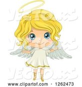 Vector of Cute Blond White Girl in an Angel Costume by BNP Design Studio