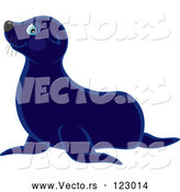Vector of Cute Blue Sea Lion by Alex Bannykh
