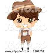 Vector of Cute Brunette Boy in a German Costume by BNP Design Studio