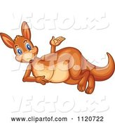 Vector of Cute Cartoon Kangaroo Reclining and Presenting by Graphics RF