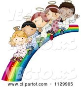 Vector of Cute Cartoon Multi Ethnic Angel Children Sliding down a Rainbow by BNP Design Studio