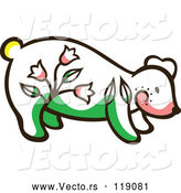 Vector of Cute Floral Bear by Cherie Reve