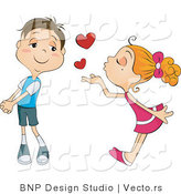 Vector of Cute Girl Blowing Love Heart Kisses at a Boy by BNP Design Studio