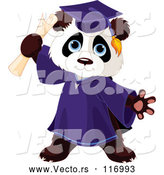 Vector of Cute Graduate Panda Holding a Diploma by Pushkin
