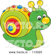 Vector of Cute Green Toy Snail with a Colorful Shell by Alex Bannykh