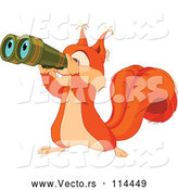 Vector of Cute Squirrel Looking Through Binoculars by Pushkin
