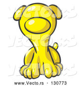 Vector of Cute Yellow Puppy Dog Looking Curiously at the Viewer by Leo Blanchette