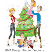 Vector of Dad Lifting Daughter to Put Topper on Christmas Tree While Mother Watches and Son Wraps Presents by BNP Design Studio