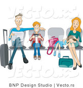Vector of Dad, Son, Daughter and Mom Sitting Patiently at an Airport by BNP Design Studio
