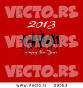Vector of Dancers Dancing at a Happy New Year 2013 Party over Red Background by KJ Pargeter