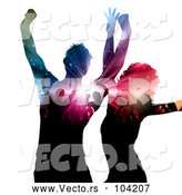 Vector of Dancing Couple with Silhouetted People and Lights on Their Bodies by KJ Pargeter