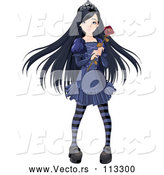 Vector of Dark Gothic Princess with Long Black Hair, Holding a Rose by Pushkin
