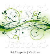 Vector of Dark Green Vines with Butterflies - Digital Web Design Border Background Element by KJ Pargeter