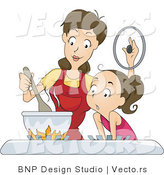 Vector of Daughter and Mom Cooking on a Gas Stove by BNP Design Studio