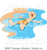 Vector of Dead Boy Washing up in the Surf on a Beach by BNP Design Studio