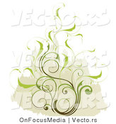 Vector of Delicate Leafy Scrolling Vines over a Tan Background by OnFocusMedia