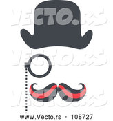 Vector of Detective with a Curling Mustache, Hat and Monocle by Cherie Reve