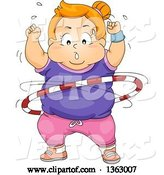 Vector of Determined Fat Red Haired White Girl Exercising with a Hula Hoop by BNP Design Studio