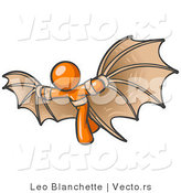 Vector of Determined Orange Guy Strapped in Glider Wings by Leo Blanchette