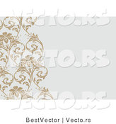 Vector of Diagonal Tan Vines over Blank Gray Invitation Background by BestVector