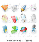 May 4th, 2018: Vector of Digital Collage of Books, Shopping Cart, Pencil, Cd, Home, Bar Graph, Search, Shopping Bag, Sms Card, Chat, Email and Microphone Web Browser Icons by AtStockIllustration