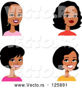 Vector of Digital Collage of Four Hispanic Ladies Smiling by Monica