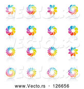 Vector of Digital Collage of Rainbow Circle Logo Designs or App Icons by Elena
