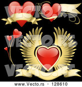 Vector of Digital Collage of Red Love Heart Elements - Version 7 by Dero