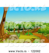 Vector of Dirt Trail Through a Forest Park by Graphics RF