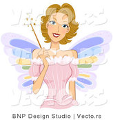 Vector of Dirty Blond Fairy Girl Holding a Magic Wand by BNP Design Studio