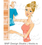 Vector of Dirty Blond Girl Hanging Clothes in a Closet by BNP Design Studio