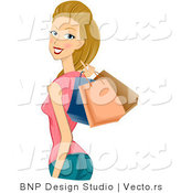 Vector of Dirty Blond Girl Holding Shopping Bags over Her Shoulder by BNP Design Studio