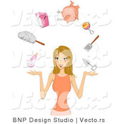 Vector of Dirty Blond Girl Juggling Her Responsibilities by BNP Design Studio