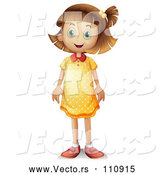 Vector of Dirty Blond White Girl Standing in a Polka Dot Dress by Graphics RF