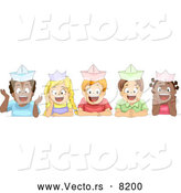 Vector of Diverse Cartoon School Children Wearing Paper Hats and Smiling by BNP Design Studio