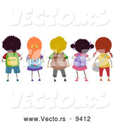 Vector of Diverse Cartoon School Children with Backpacks Standing in a Row by BNP Design Studio