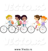 March 25th, 2015: Vector of Diverse Stick Kids Riding Bikes to School by BNP Design Studio