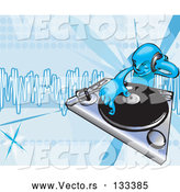 Vector of DJ Mixing Records on a Turntable by AtStockIllustration