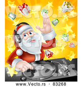 Vector of DJ Santa Mixing Christmas Music on Turntable by AtStockIllustration