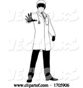 Vector of Doctor in PPE Mask Stop Hand Sign Medical Concept by AtStockIllustration