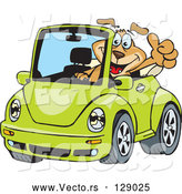 April 30th, 2018: Vector of Dog Driving a Green Slug Bug Convertible and Giving the Thumbs up by Dennis Holmes Designs