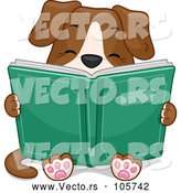 Vector of Dog Sitting and Reading a Book by BNP Design Studio