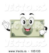 Vector of Dollar Bill Mascot Character Gesting Perfect or Ok by BNP Design Studio