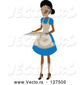 Vector of Domestic Hispanic Lady Holding Chocolate Chip Cookies on a Baking Sheet by Rosie Piter