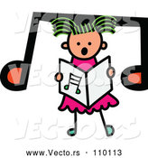 Vector of Doodled Toddler Art Sketched Greeb Haired White Girl Singing over a Big Music Note by Prawny