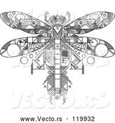 Vector of Dragonfly Motherboard Computer Chip - Black Lineart Theme by Vector Tradition SM