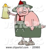 Vector of Drunk Cartoon Pig Drinking a Beer from a Setin at Oktoberfest by Djart