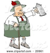 Vector of Drunk Old Senior Guy Walking with a Cane and Partying with a Beer Stein at Oktoberfest by Djart