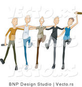 Vector of Drunk Young Men Dancing by BNP Design Studio